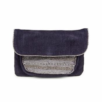 Pochette portefeuille velours violet